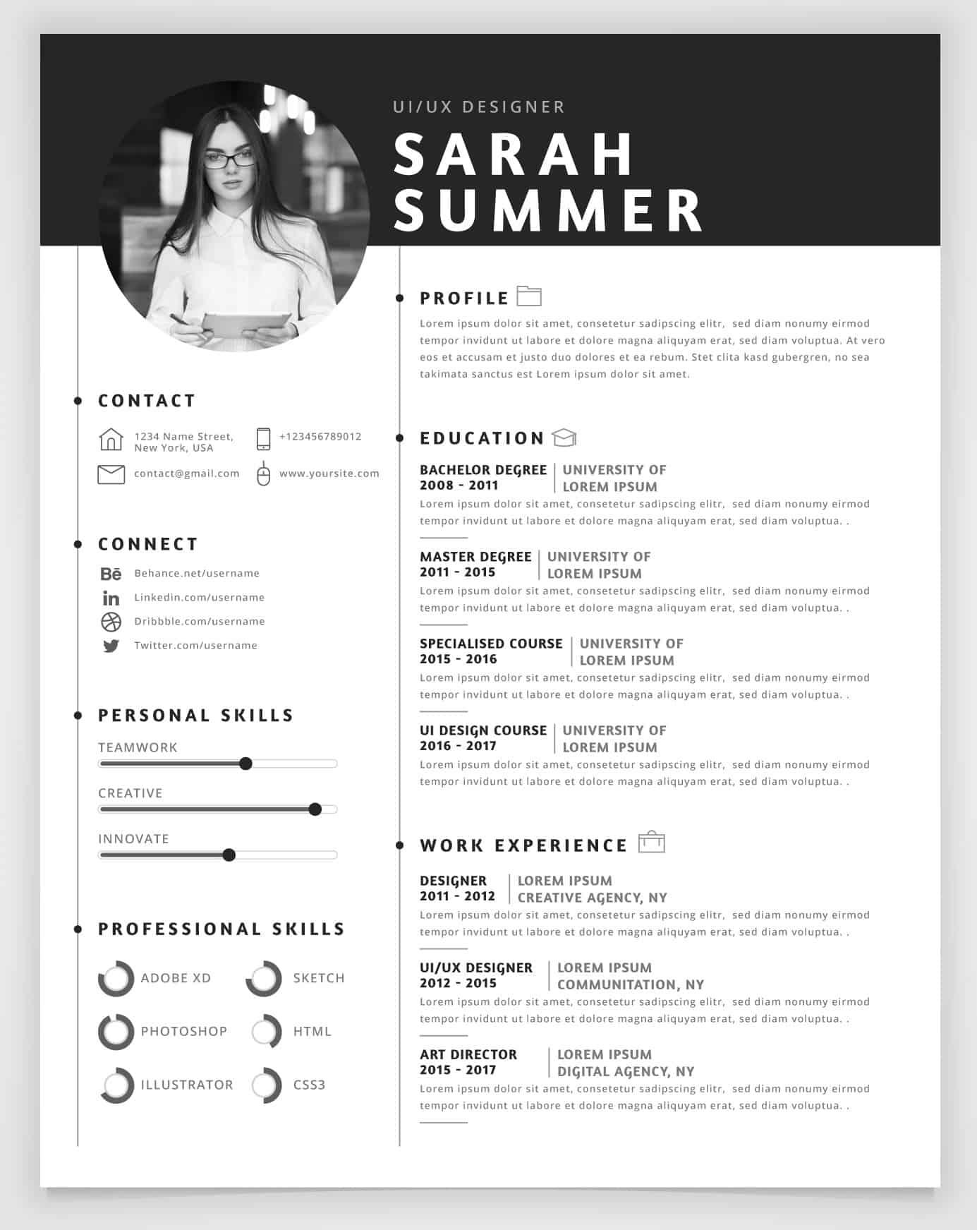 Graficzne CV do wypełnienie dla specjalisty do spraw UI/UX