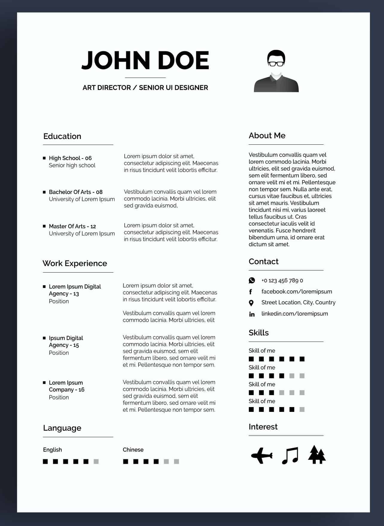 Graficzne CV. Darmowe czarno-białe CV dla dyrektora kreatywnego.