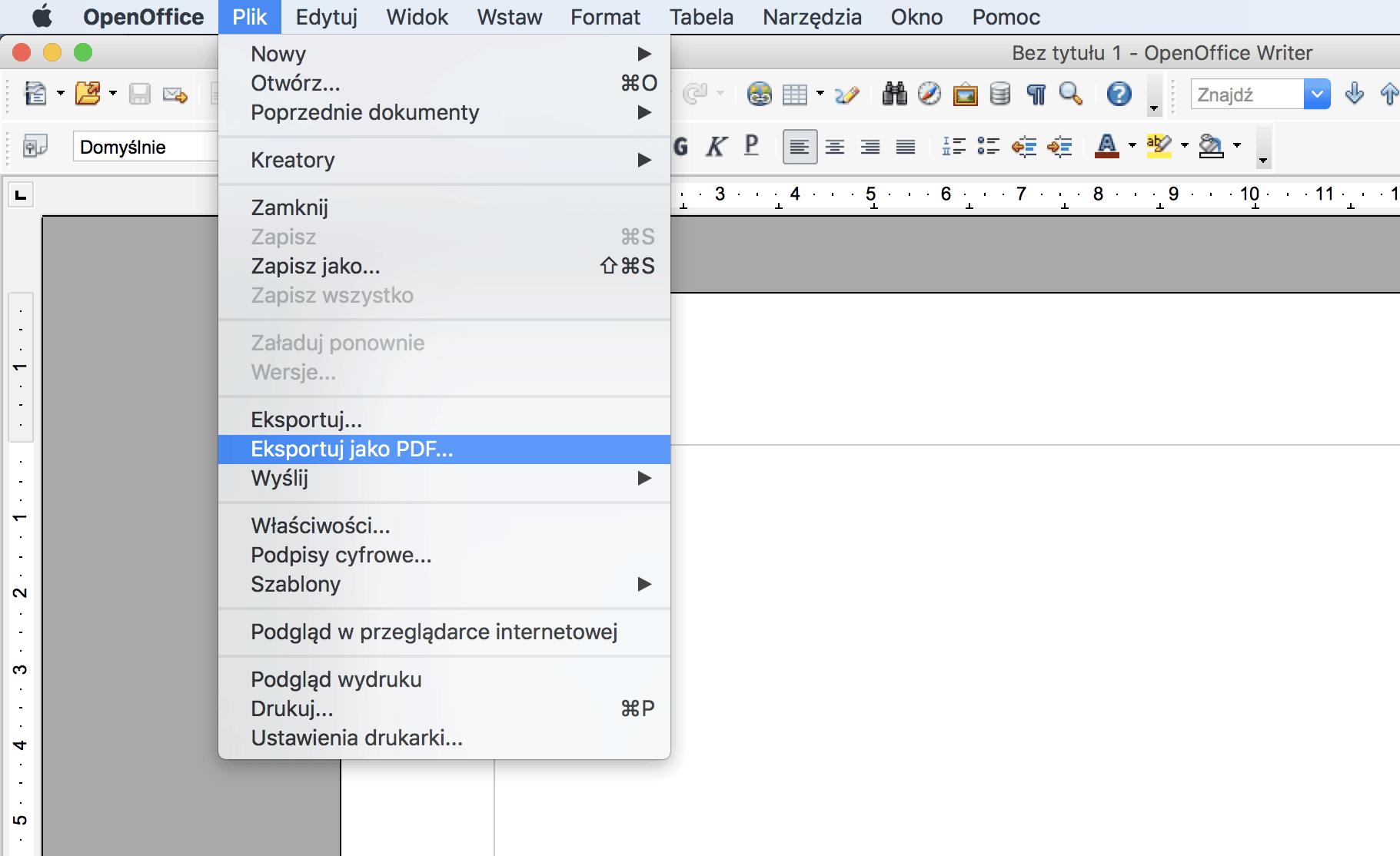Open Office - jak zapisać CV w formacie PDF