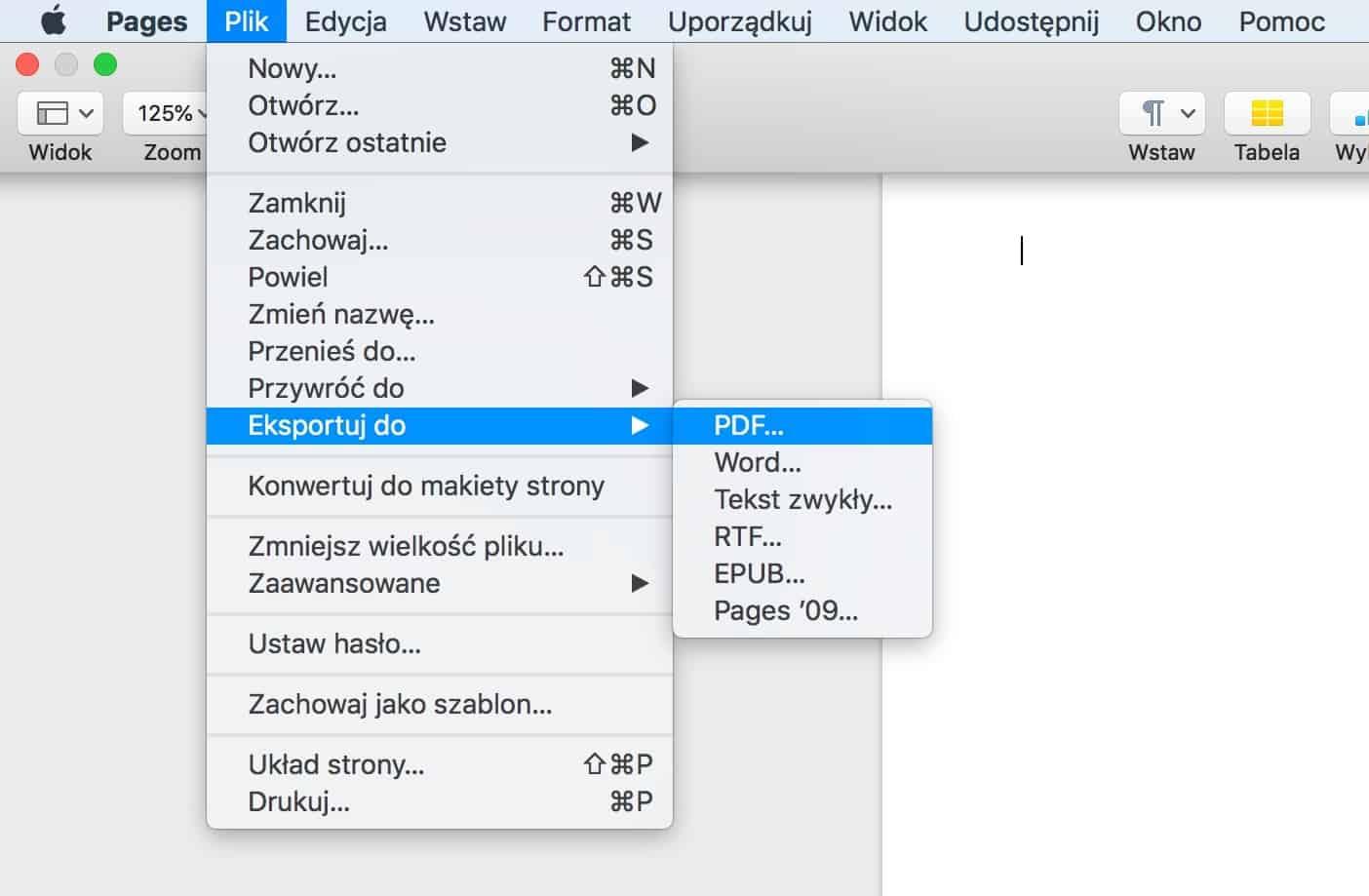 macOS Pages - jak zapisać CV do PDF?