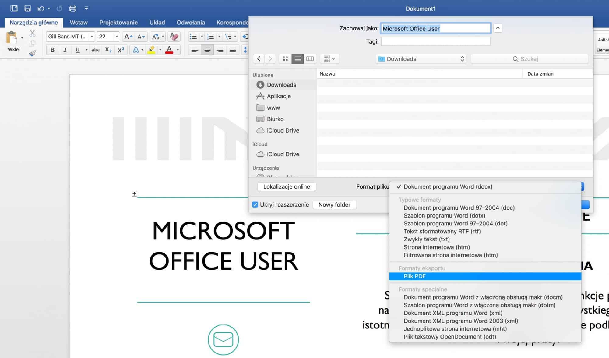 Microsoft Word - jak zapisać CV do PDF