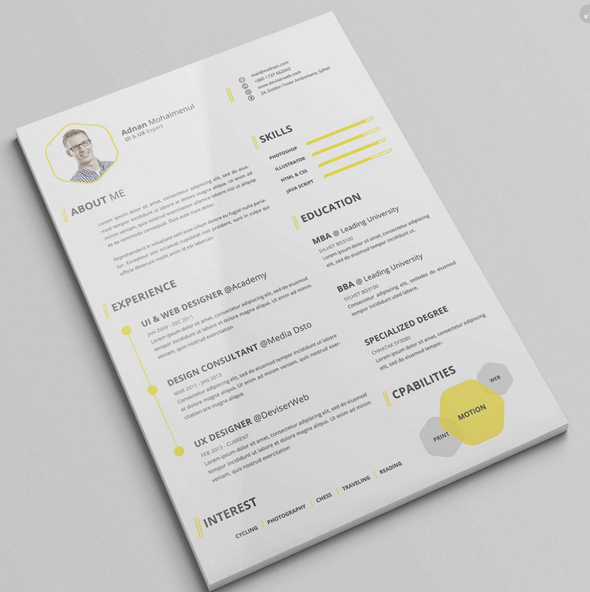 Graficzne CV. Darmowy wzór CV dla projektanta.