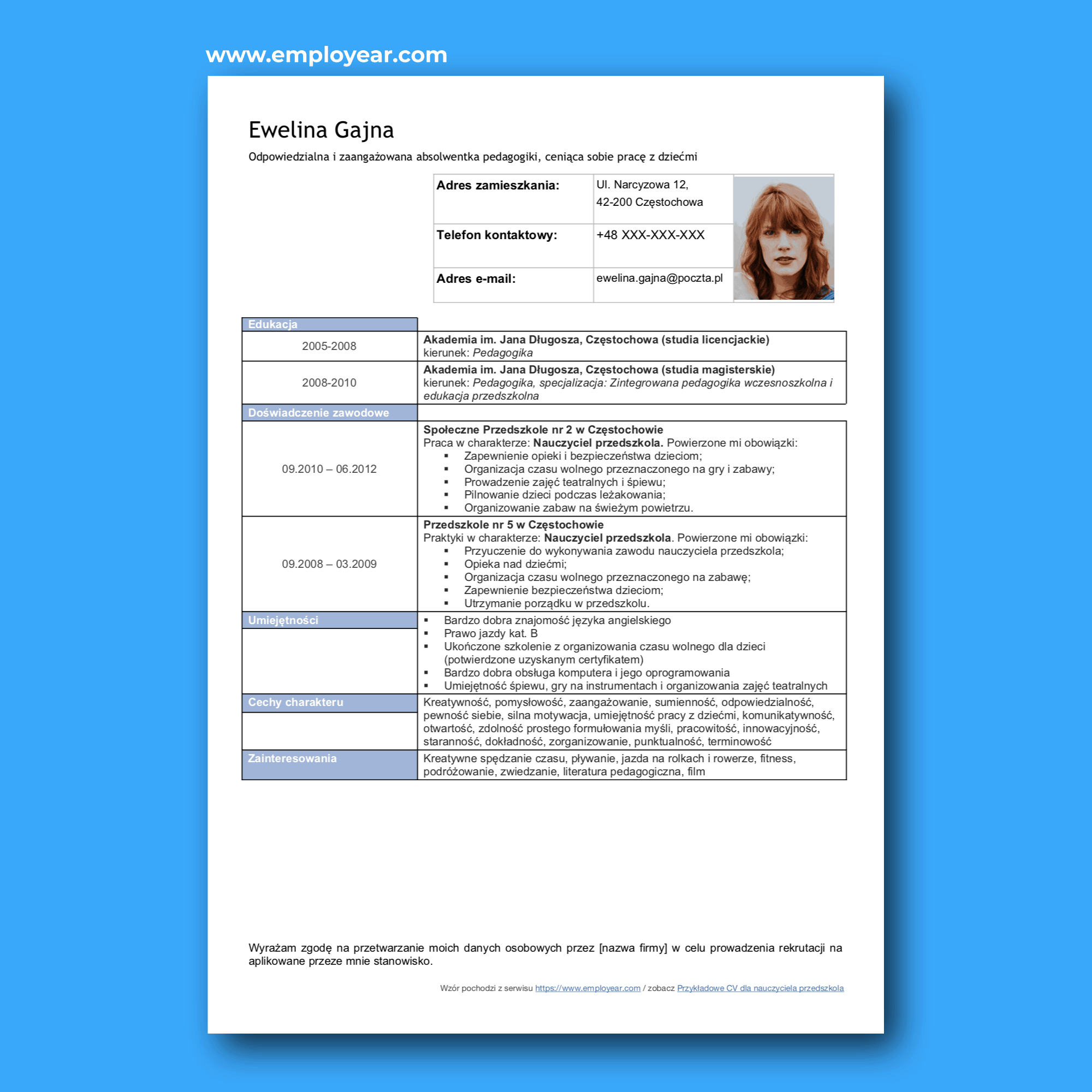 Nauczyciel Przedszkola Zawód Wynagrodzenie Cv List Motywacyjny