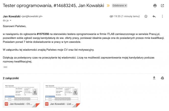Przykład poprawnego maila z CV do pracodawcy