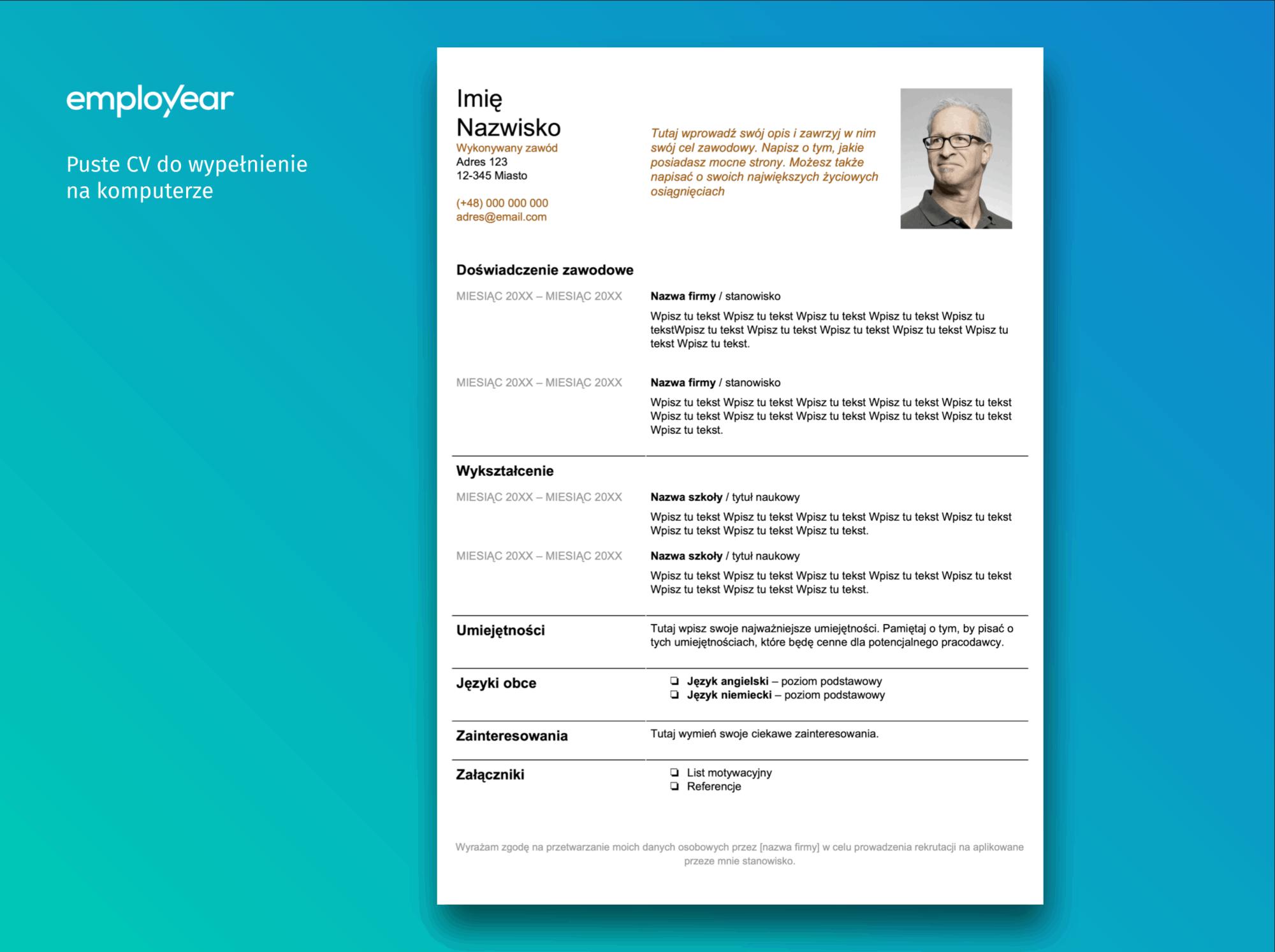 Puste CV do wypełnienia na komputerze